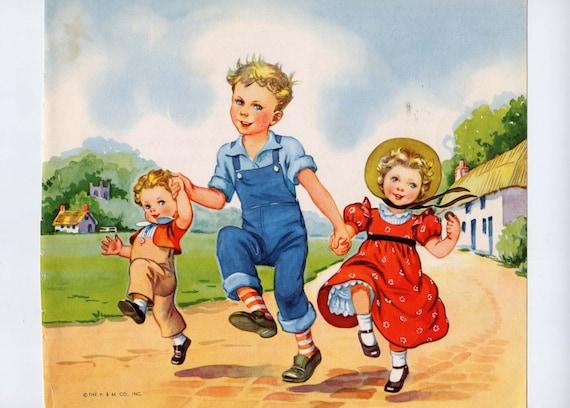 1953 Vintage Mother Goose Illustration Eulalie Banks. Skip To My Lou