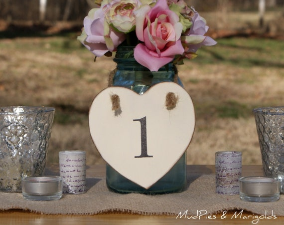 Rustic Table Numbers, YOU pick the color, shabby chic, romantic, country, woodland