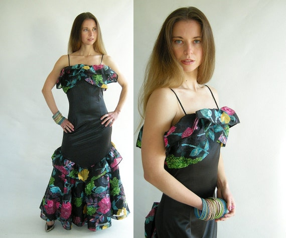 Vintage 80s Black Ruffled Floral Party Dress Latin by empressjade