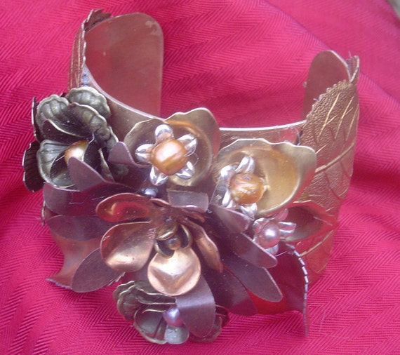 Fairy Tale, large, floral brass cuff.