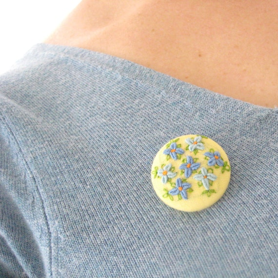 One of a kind jewelry, Brooch, hand embroidered forget-me-nots on buttercup yellow fabric