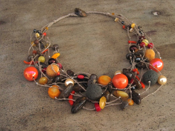 Tangerine Necklace Raw Amber Coral Lava Stone, Linen Necklace