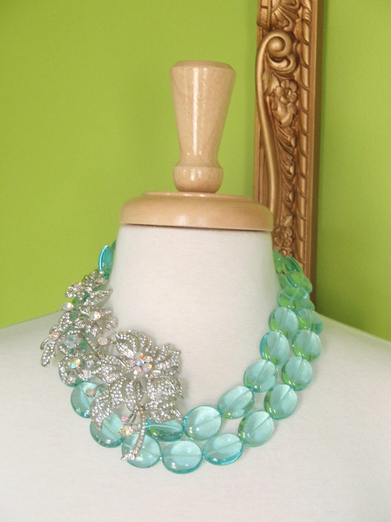 MADELYN - Double Strand Aqua Glass with Crystal Brooch Necklace