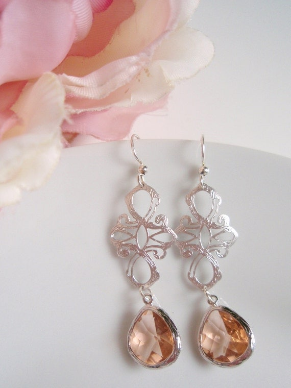 Silver Filigree - White Gold Champagne Earrings