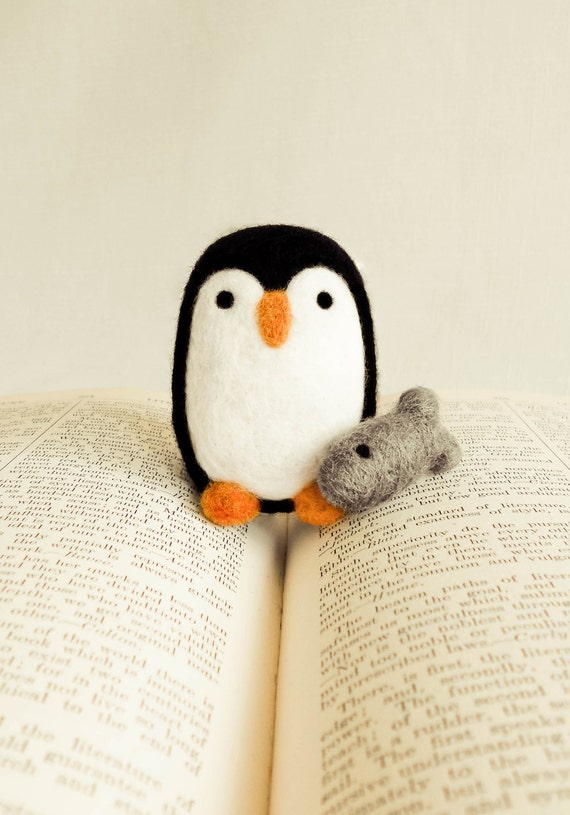 Needle Felted Percival the Penguin Wooly with Fish Handmade