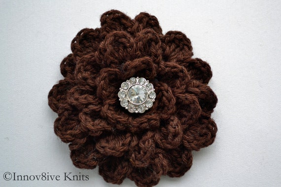 Crochet Flower Hair Clip With Rhinestone Center In Coffee Chocolate Brown Made From a Cotton and Linen Blend Yarn