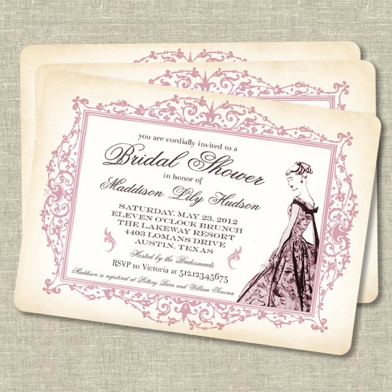Vintage Inspired Bridal Shower Invitations