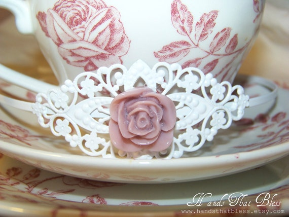 White Filigree Rose Headband