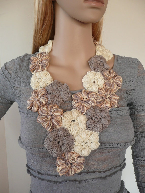 Crochet jewelry - Flower scarflette - crochet flower necklace , one of a kind - unique neutrals - cotton spring scarf