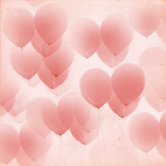 Valentine Wedding Nursery Pink Balloons in the Sky 8x8     Nursery Art Girls Room Wedding Love