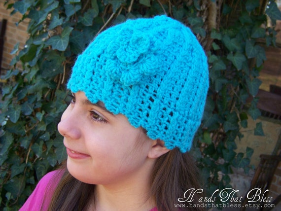 Light Blue Crocheted Rose Embellished Hat