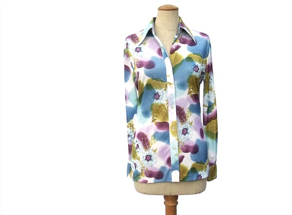 Vintage 70s Blouse Watercolor Floral Purple by mysweetiepiepie from etsy.com
