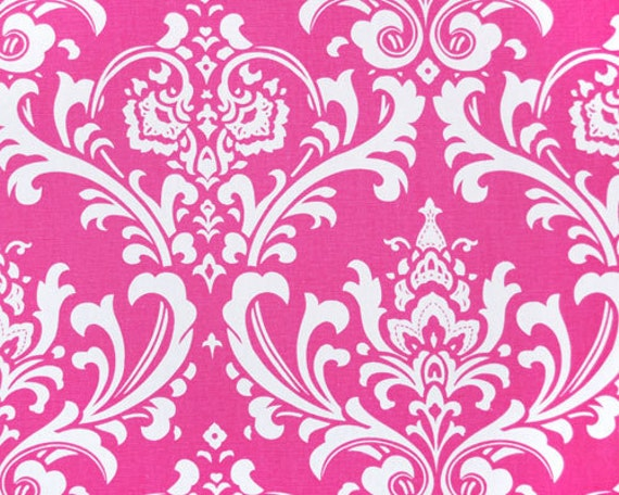 TABLE RUNNER Fuchsia Candy Pink Damask Osborne White on Candy Pink Runner