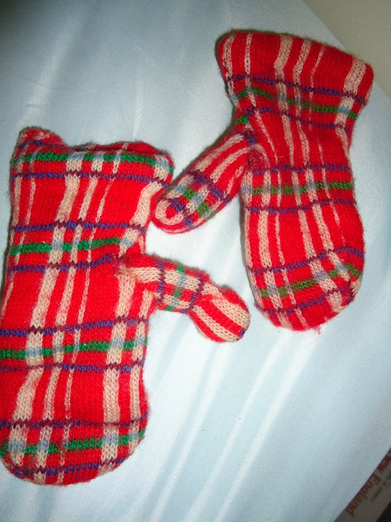 1930s KID Mittens //  TARTAN PLAID //  Wool Mittens //