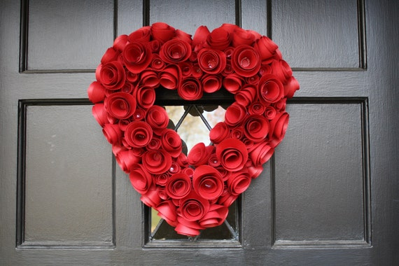 Paper Flower Wreath-Dia dos Namorados-Red