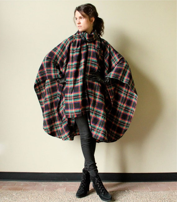 Vintage Plaid Cape - 80s does 60s Mod cape in Tartan plaid - black with red, green, yellow primary colors & long fringed scarf