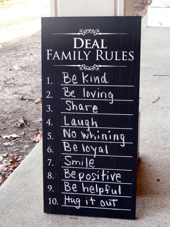 Personalized Family Rules Chalkboard Sign