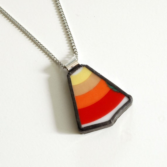 Broken Plate Pendant on Chain - Red Orange Yellow Rainbow - Recycled China
