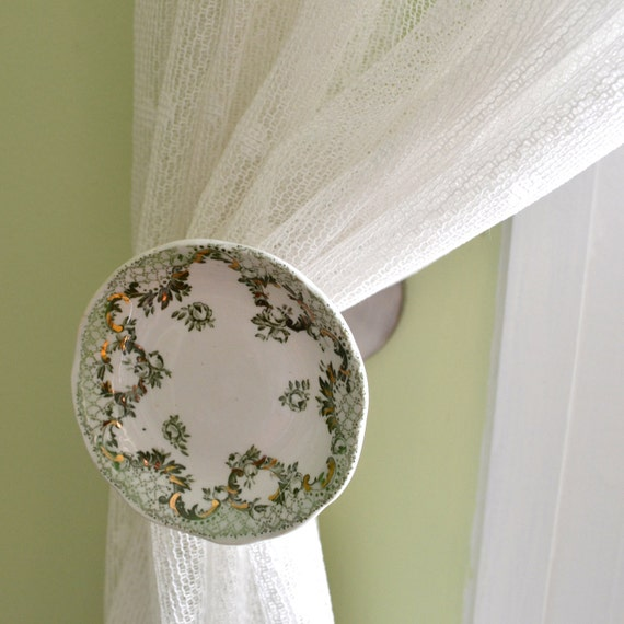 Recycled China Drapery Holdback - Green White and Gold - Curtain Tie Back