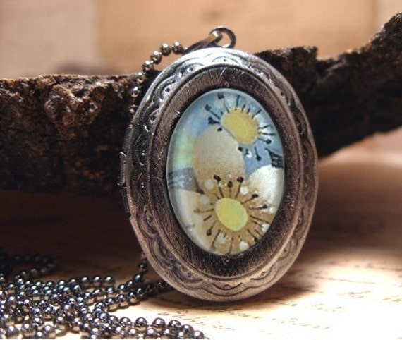 "Pastel Floral Locket Necklace, Sweet Romantic Locket to Keep all Your Secrets, Comes with 22"" Matching Fine Ball Chain"