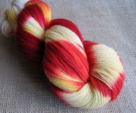 Fawkes the Phoenix - Hand Dyed Lace Weight Yarn - Merino Wool - 880 yards