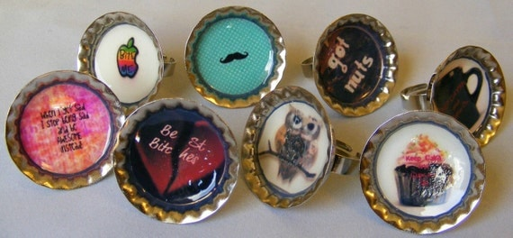Rings Bottle Caps (Your Choice of Design)