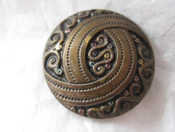 Antique Vintage Metal Button - Ornate Design