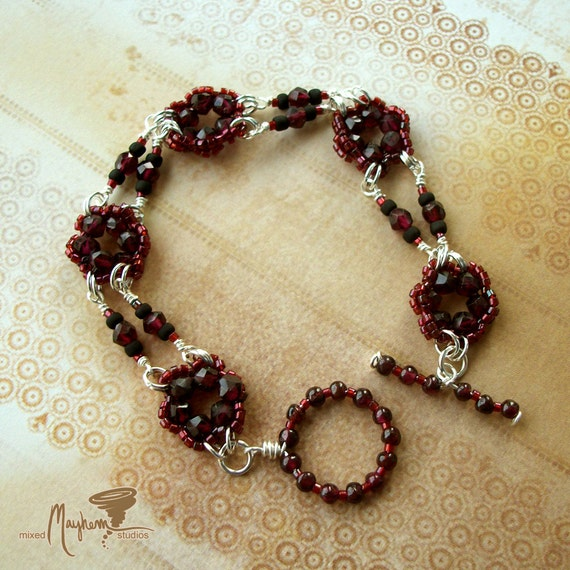 Woven Beaded Natural Ruby Red Garnet Flowers with Burgundy Seed Beads and Handmade Toggle Clasp