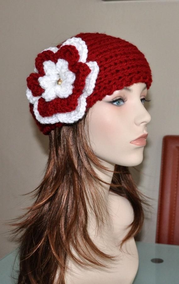 قلاب دوزی پیشانی بند قرمز ولنتاین را انتخاب کنید رنگ قرمز گل قره قاط سفید پیشانی بند کلاه بافتنی گوش گرمتر باند سر مو پوشش دخترانه رز