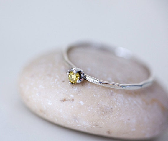 DIAMOND RING minimalist  sterling silver slim stacking ring with genuine natural yellow diamond engagment ring israel