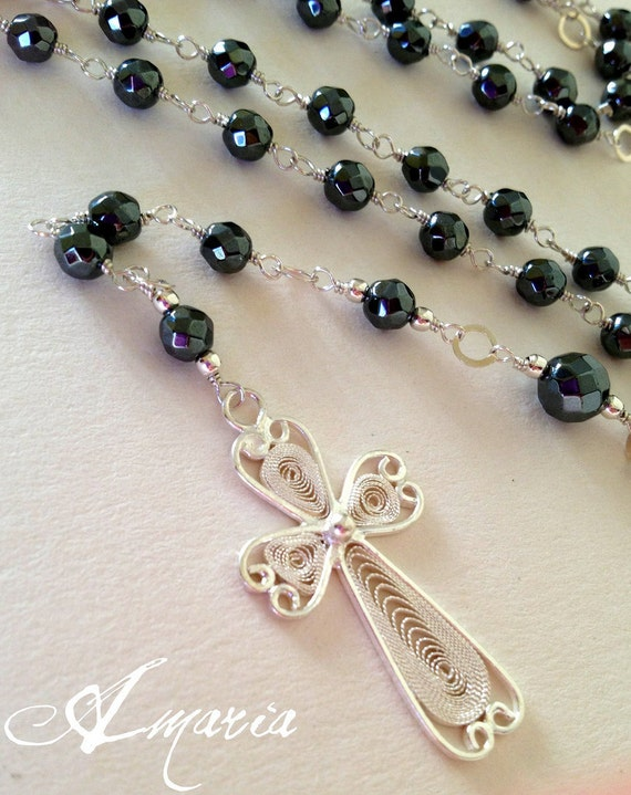 Luxurious hematite rosary by amaria on Etsy from etsy.com