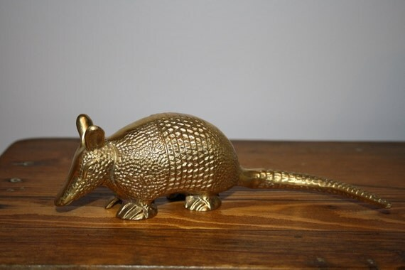 vintage brass armadillo paperweight texas south america animal 60s
