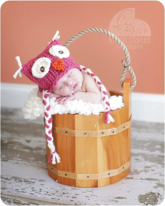 Little Knit Owl Hat for Baby, Many Color Choices Available