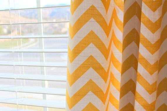 Pair of Designer Custom Curtain Panels 50 x 63 Yellow White Zig Zag Chevron with Grommets