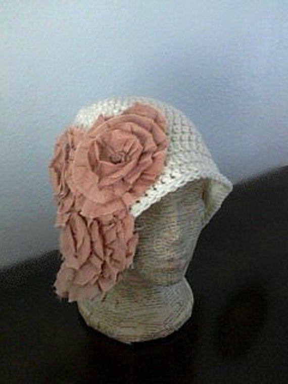 Cloche Style Hat with Cluster of Big Rosettes