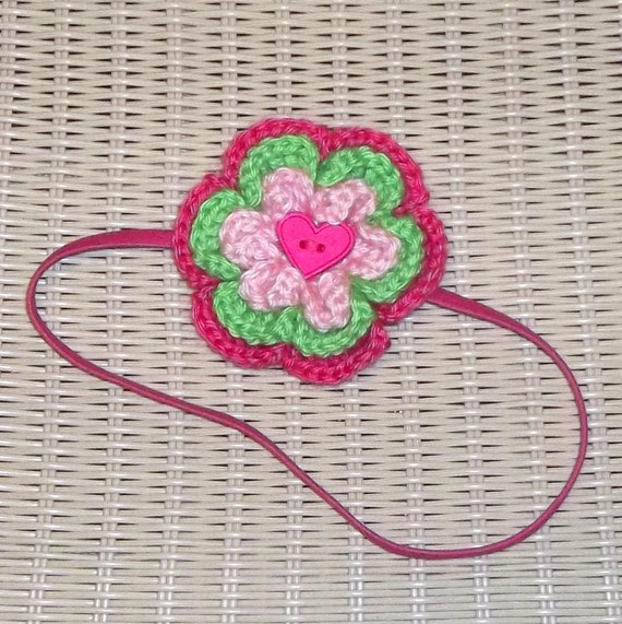 Pink Elastic Headband Crocheted Flower Heart Center