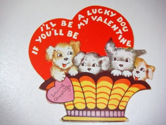 Basket of Puppies Antique Valentine - Lucky Dog