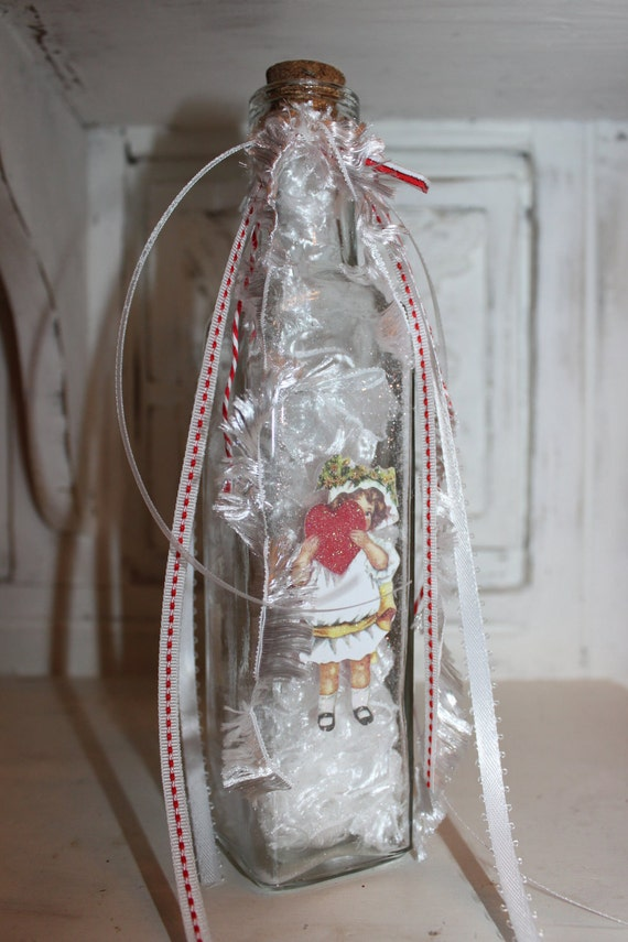 "Adorned Valentine Bottle ""Peek a boo"""