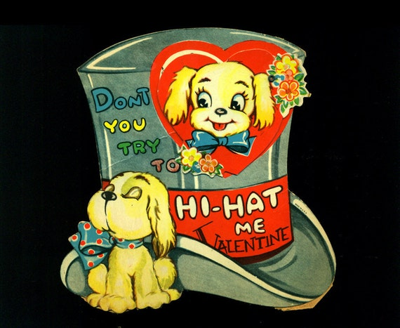 SALE TAKE 10% OFF Large Vintage Valentine Card Mechanical Die Cut Dog Top Hat