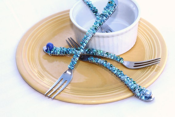 Shimmering Sea glass blue copper cocktail forks for your best pals soiree