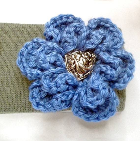 Winter Headband Ear Warmer Grey with Blue Crocheted Flower