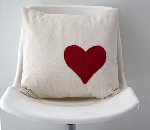 Valentine's Heart Pillow Cover in Red Wool on Cream Canvas
