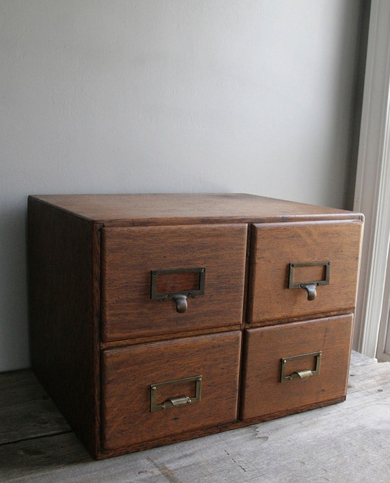 vintage oak card catalog file