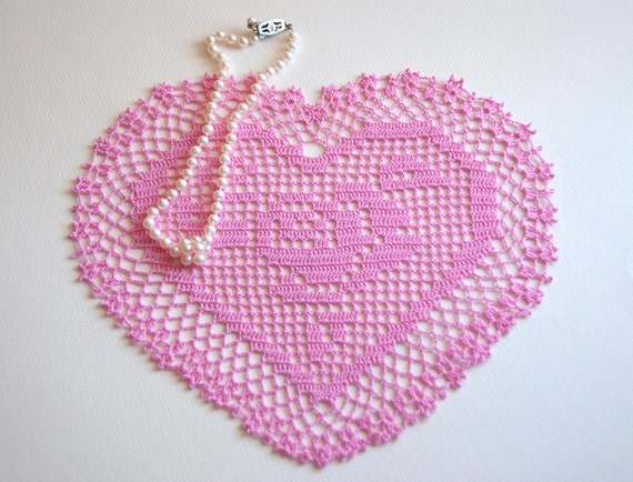 Hand crocheted doily, new, 9 by 8 inch heart, honeysuckle pink, table decor, frame for wall decor