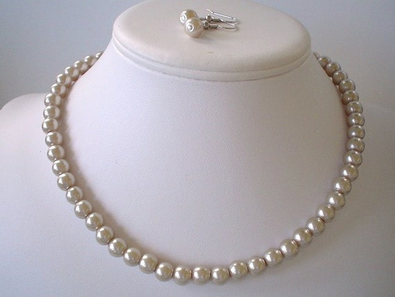 Single Strand Champagne Pearl Beaded Necklace and Earring Set    Great Brides or Bridesmaid Gifts