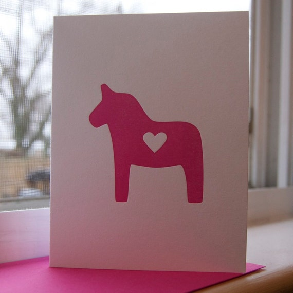 Letterpress Swedish Dala Horse Valentine's Greeting Card