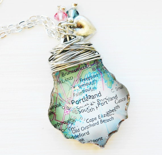 Custom Map Necklace You Pick the Place Great for Bride Anniversary Engagement