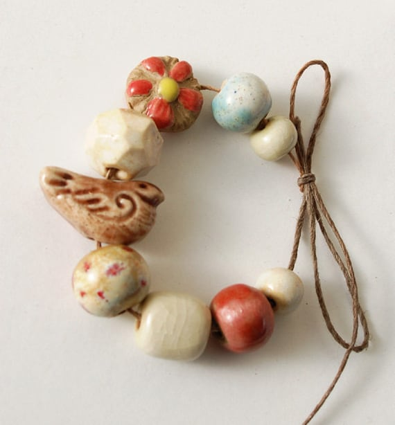 Early Birdy / Ceramic Bird and Bead Set