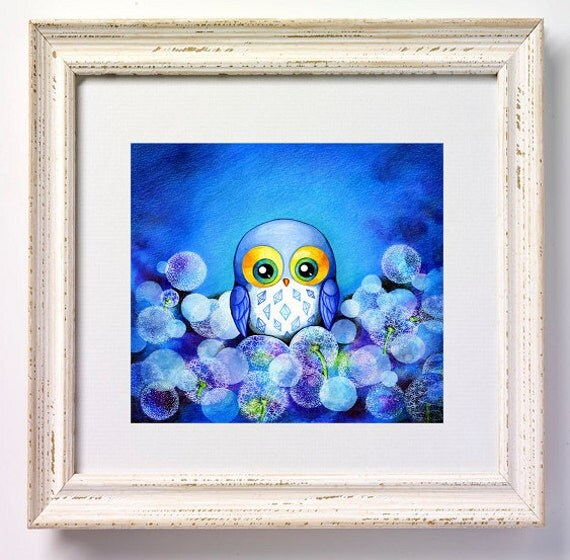 Lunar Owl - NEW Painting Print by Annya Kai - Whimsical Baby Blue Dandelion Flower Field - Owl Decor