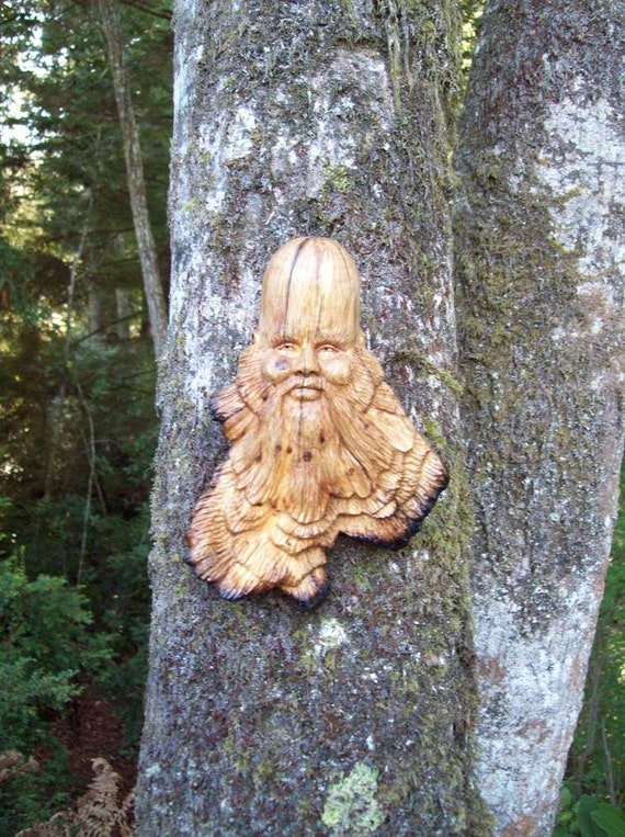 hand carved wood spirit-oak tree spirit-green man sculpture